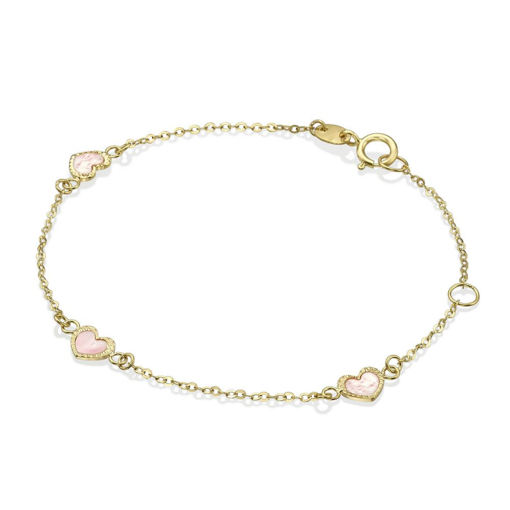 Girl's Jewelry   14K Gold Girls' Bracelet - Mother-of-Pearl Hearts: Pink