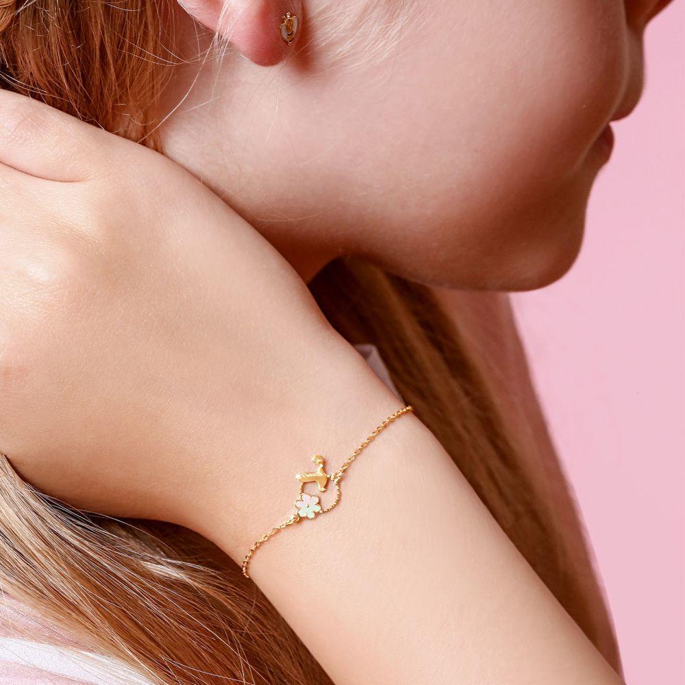 Girl's Jewelry | 14K Gold Girls' Bracelet - Dove and Flower