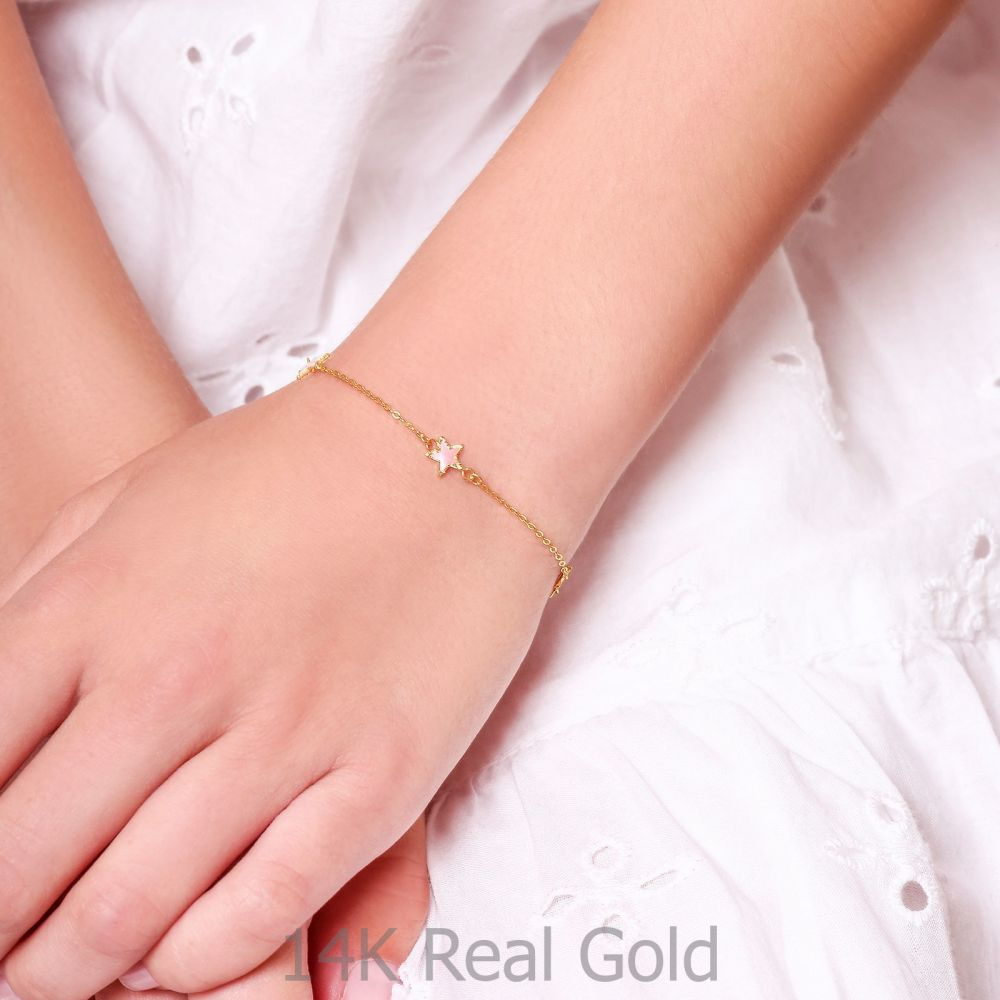Girl's Jewelry   14K Gold Girls' Bracelet - Mother-of-Pearl Stars