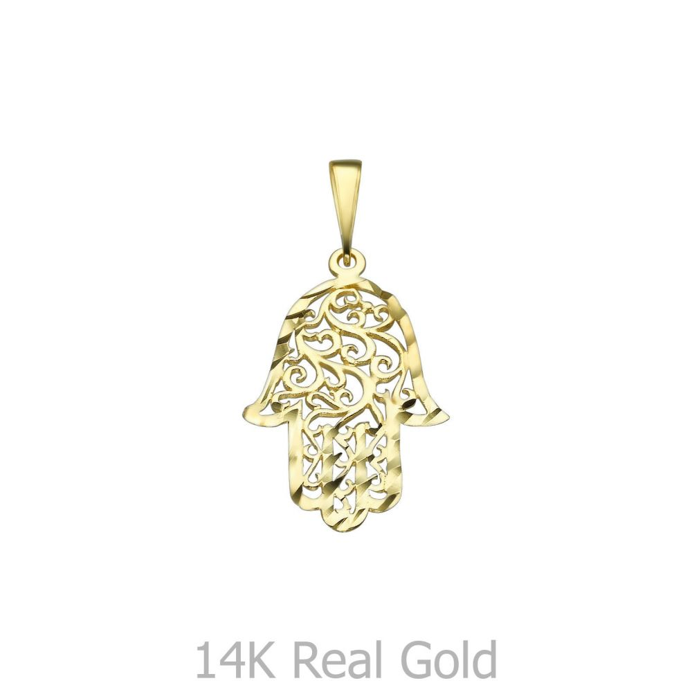 Women's Gold Jewelry   Gold Pendant - Filigree Hamsa Hand