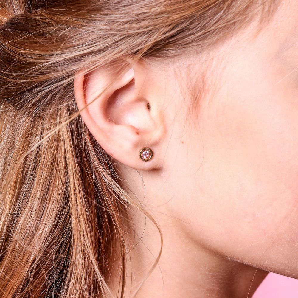 Girl's Jewelry | Gold Stud Earrings -  Circle of Dawn