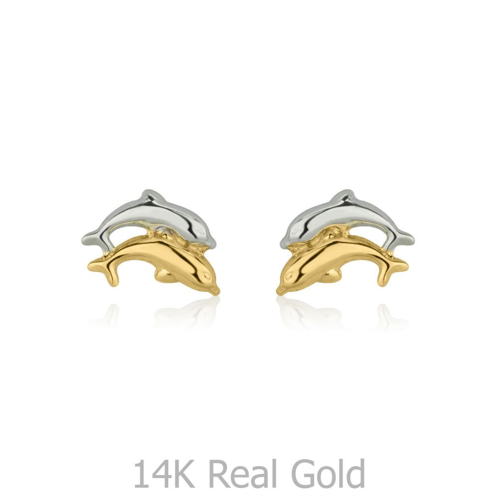 Girl's Jewelry | Stud Earrings in 14K White & Yellow Gold - Leaping Dolphin