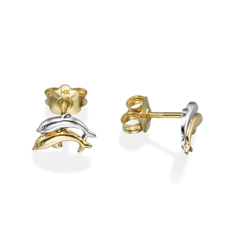Girl's Jewelry | 14K White & Yellow Gold Kid's Stud Earrings - Leaping Dolphin