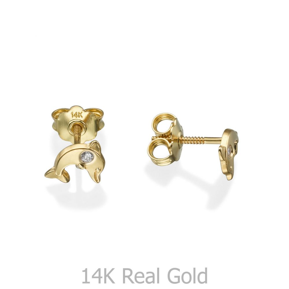 Girl's Jewelry | Gold Stud Earrings -  Smiling Dolphin