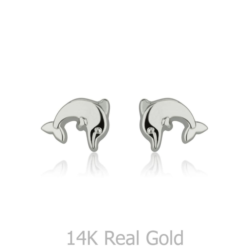 Girl's Jewelry | 14K White Gold Kid's Stud Earrings - Joyous Dolphin