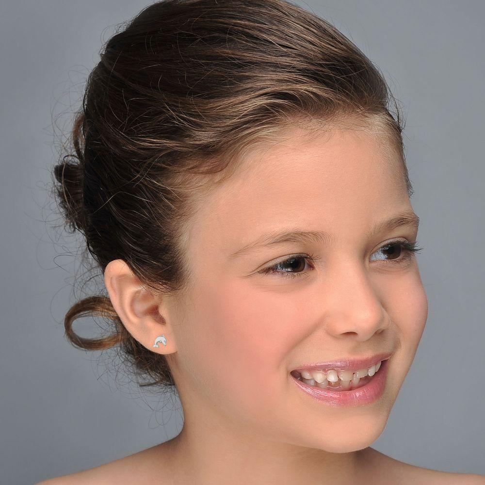 Girl's Jewelry | Stud Earrings in 14K White Gold - Joyous Dolphin