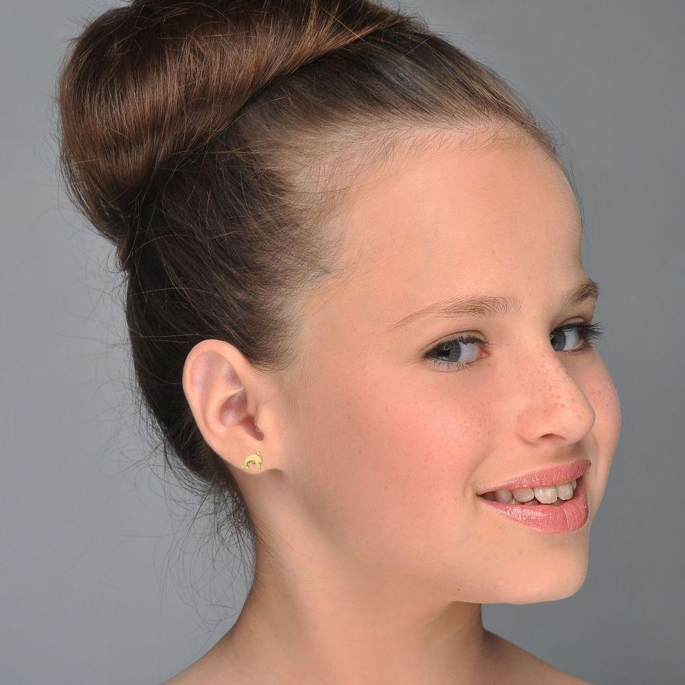 Girl's Jewelry | Gold Stud Earrings -  Joyous Dolphin