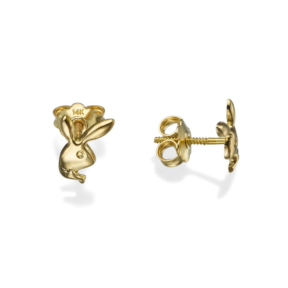 Girl's Jewelry | Stud Earrings in 14K Yellow Gold - Sweet Rabbit