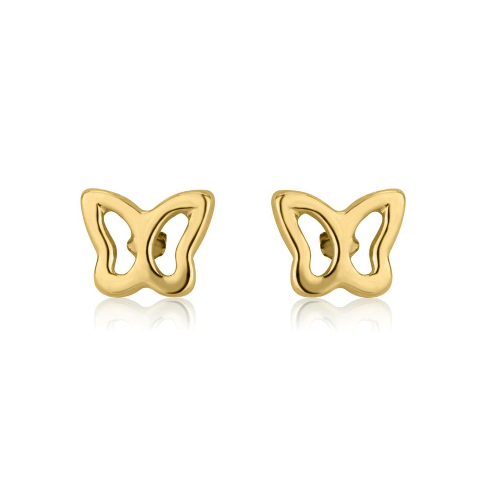 Girl's Jewelry | 14K Yellow Gold Kid's Stud Earrings - Flutterby