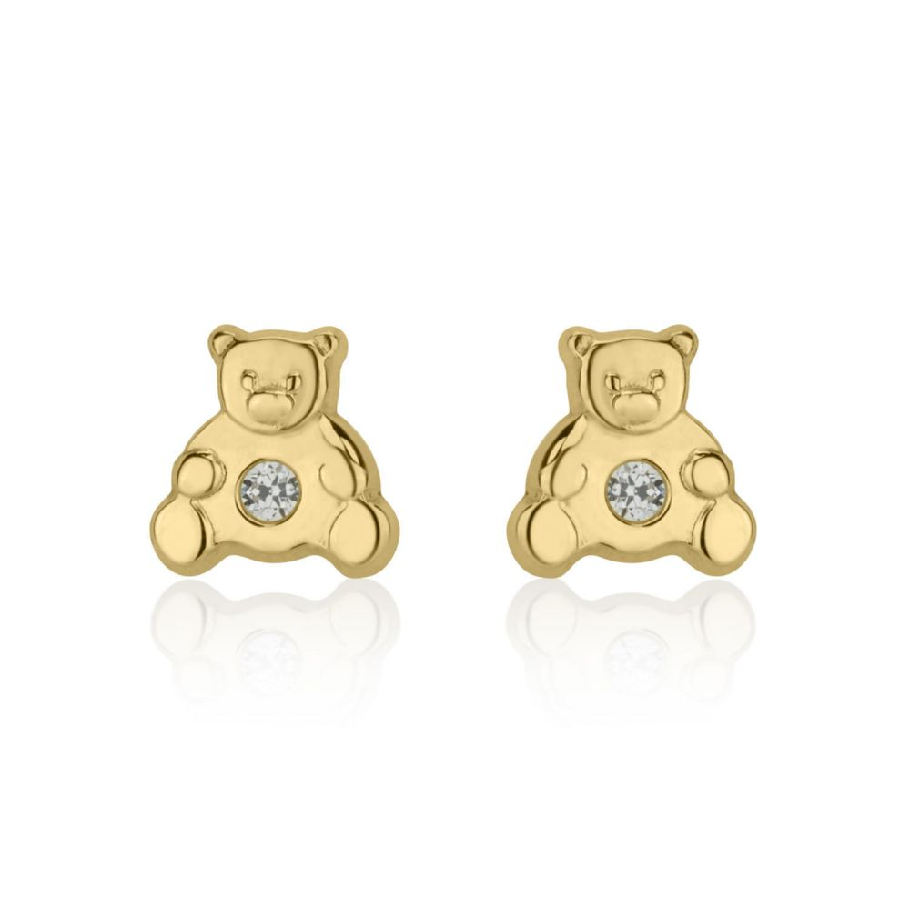 Girl's Jewelry | Gold Stud Earrings -  Sparkling Teddy