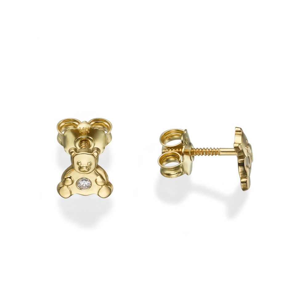 Girl's Jewelry | 14K Yellow Gold Kid's Stud Earrings - Sparkling Teddy