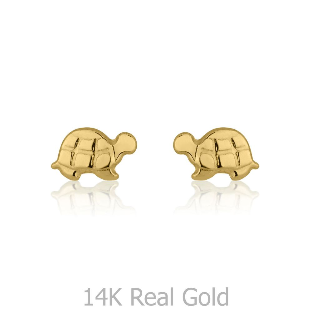 Girl's Jewelry | 14K Yellow Gold Kid's Stud Earrings - Torti Tortoise