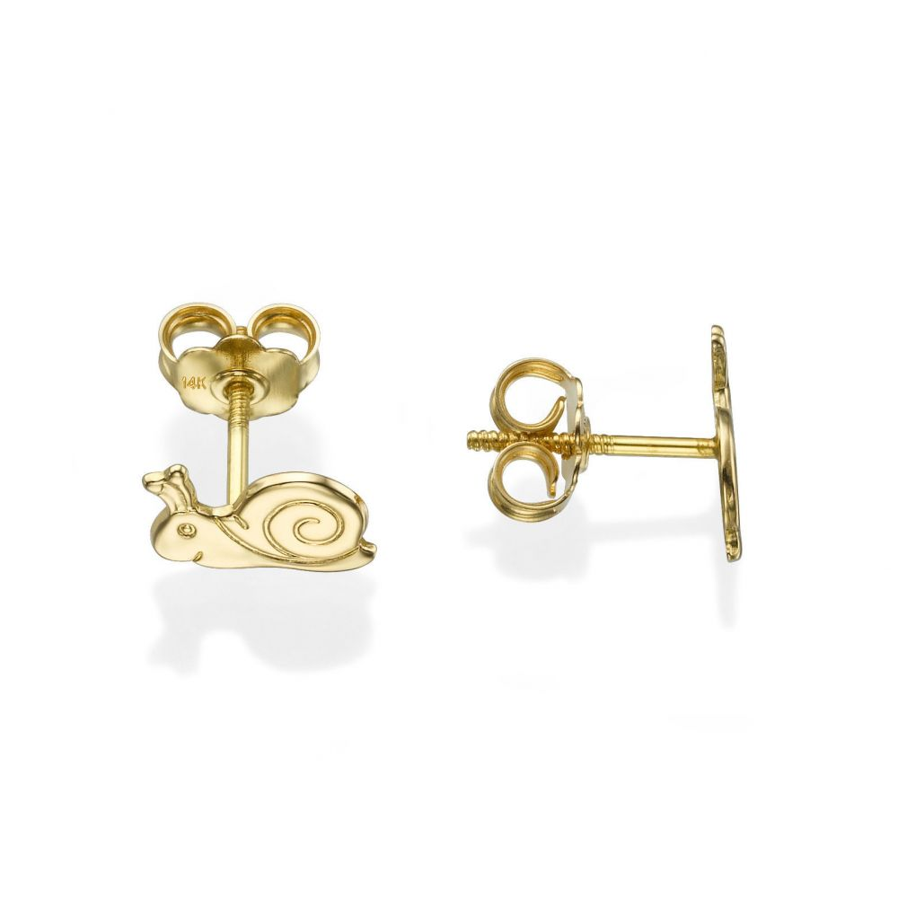 Girl's Jewelry | 14K Yellow Gold Kid's Stud Earrings - Snail