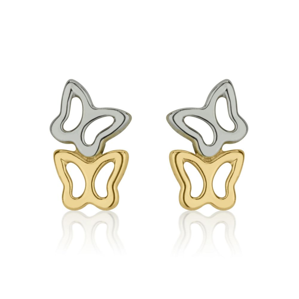 Girl's Jewelry | 14K White & Yellow Gold Kid's Stud Earrings - Butterfly in Two Colors