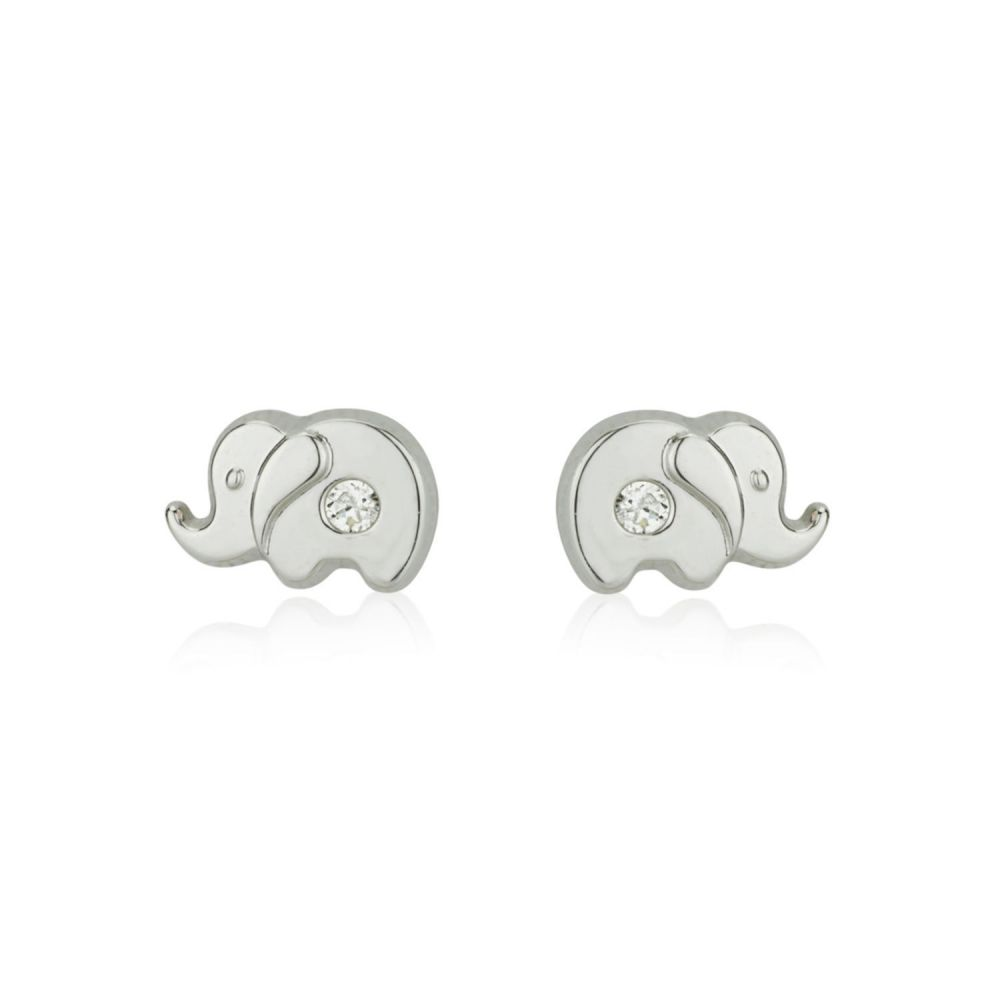 Girl's Jewelry | White Gold Stud Earrings -  Sparkling Elephant