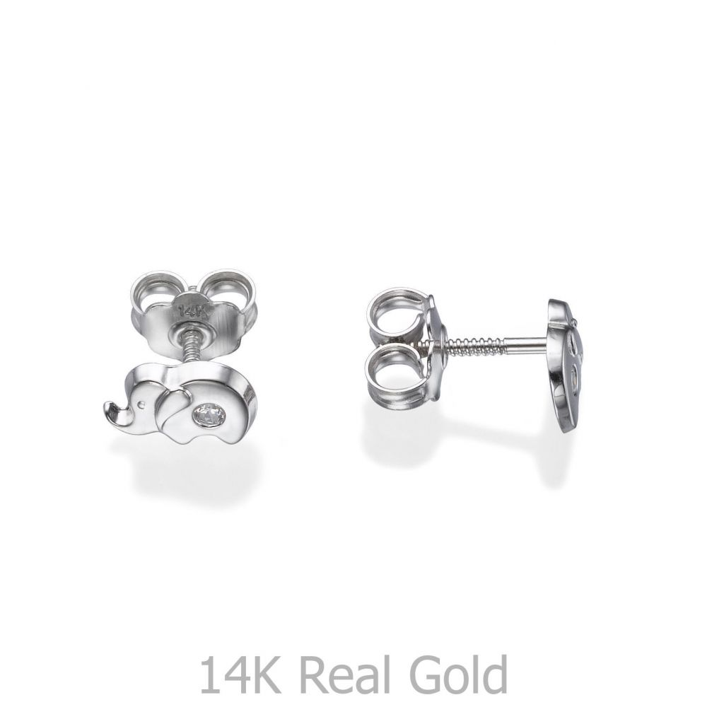 Girl's Jewelry | Stud Earrings in 14K White Gold - Sparkling Elephant