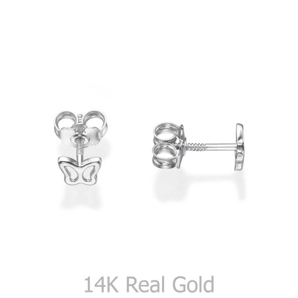 Girl's Jewelry | White Gold Stud Earrings -  Delicate Butterfly