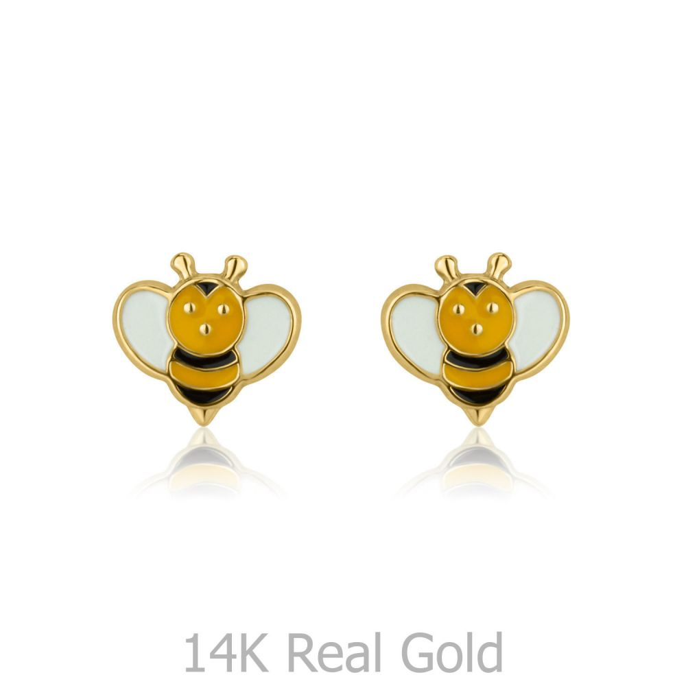 S Jewelry Stud Earrings In 14k Yellow Gold Busy Bee