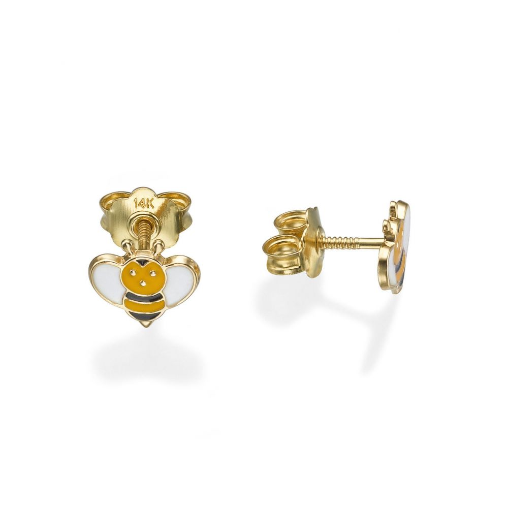 Girl's Jewelry | Stud Earrings in 14K Yellow Gold - Busy Bee