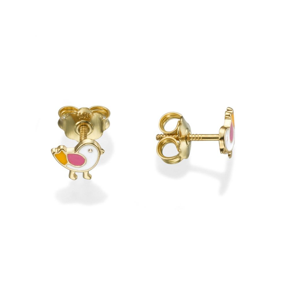 Girl's Jewelry | Stud Earrings in 14K Yellow Gold - Cheeky Chick
