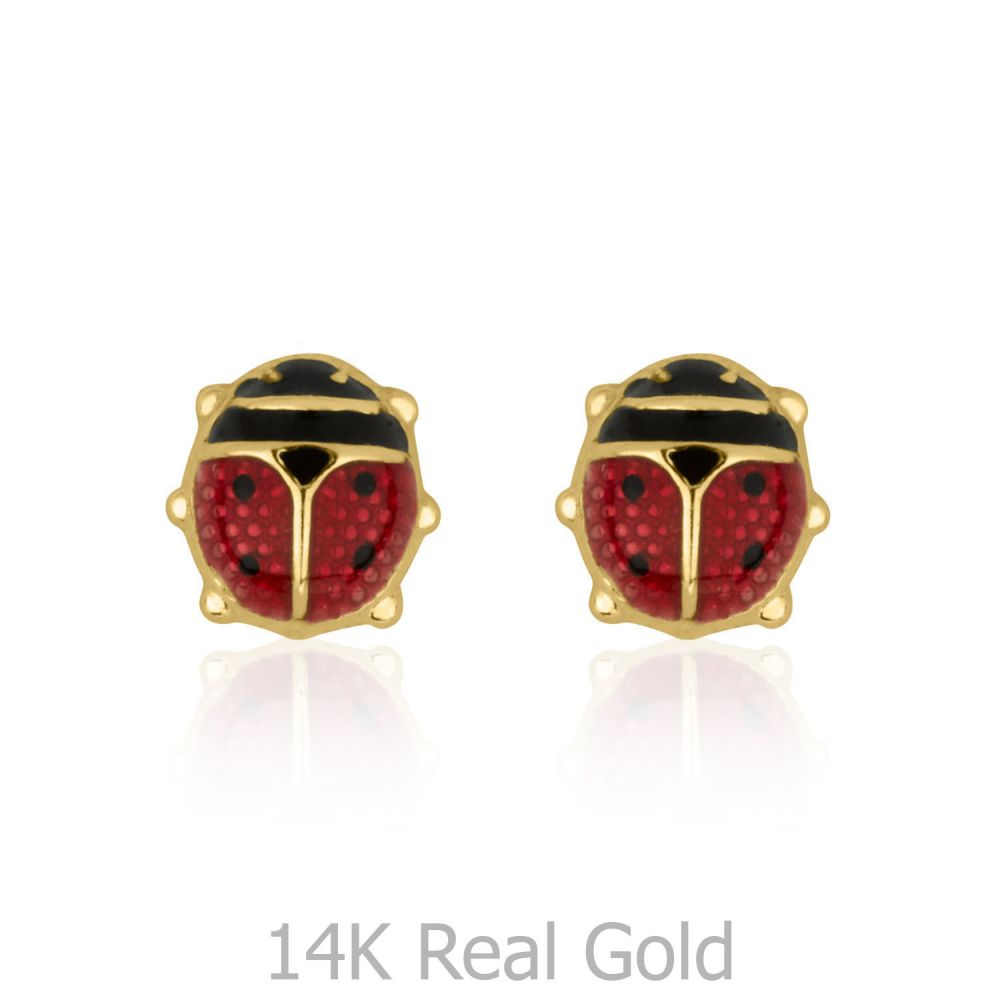 Girl's Jewelry | Stud Earrings in 14K Yellow Gold - Ladybug