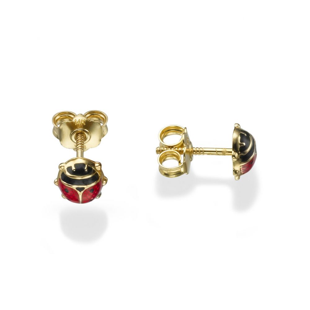 Girl's Jewelry | 14K Yellow Gold Kid's Stud Earrings - Ladybug