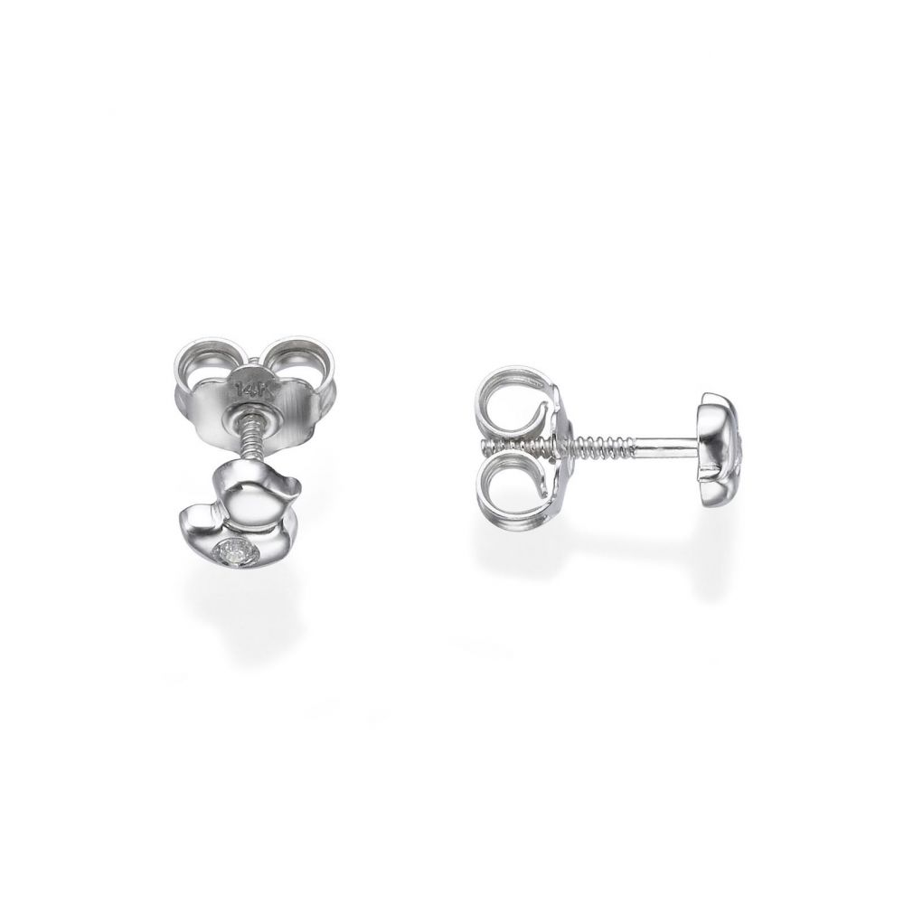 Girl's Jewelry | Stud Earrings in 14K White Gold - Sparkling Chick