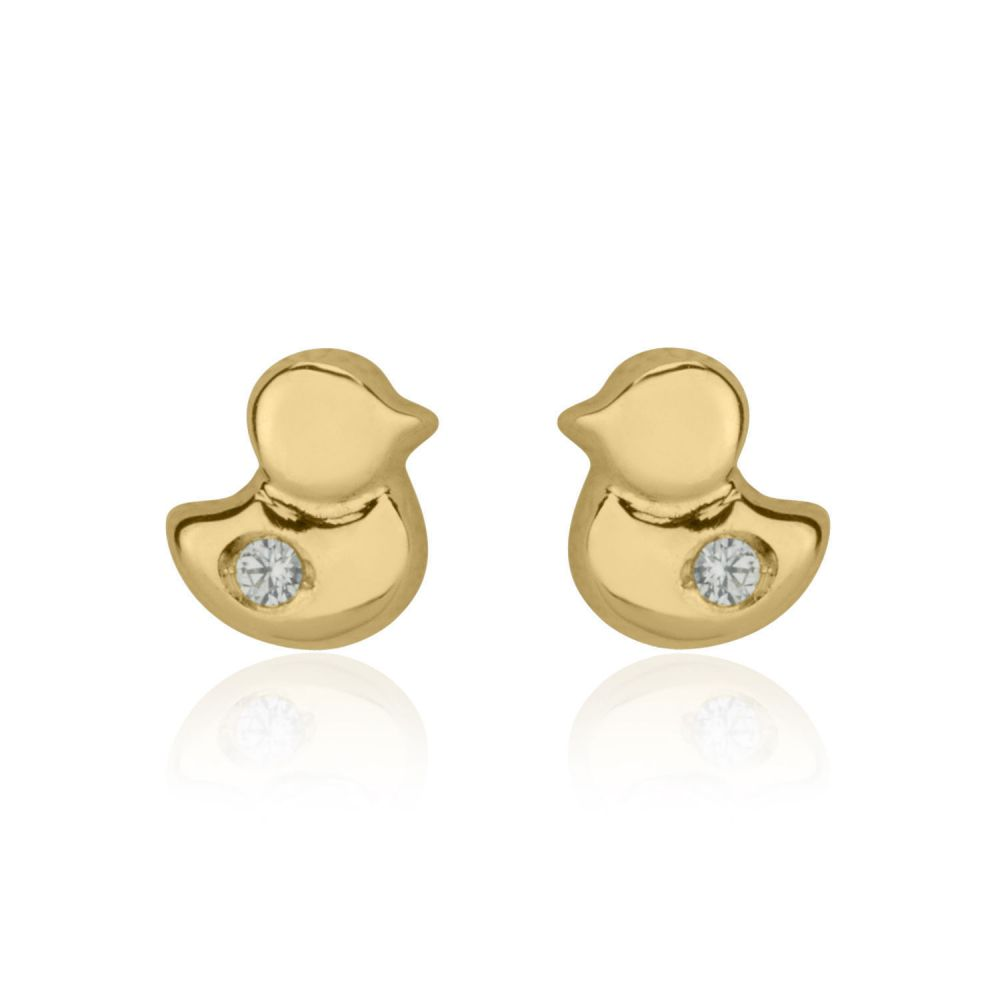 Girl's Jewelry | Stud Earrings in 14K Yellow Gold - Sparkling Chick