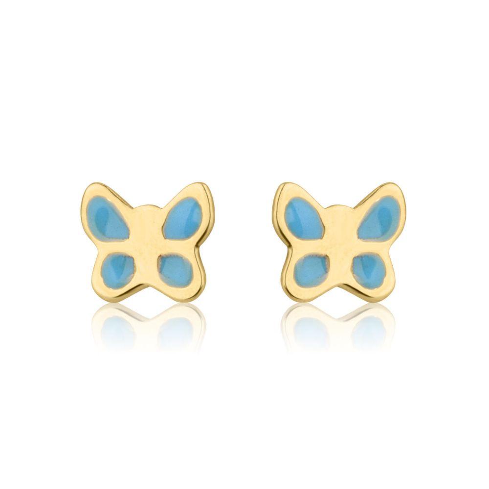 Girl's Jewelry | 14K Yellow Gold Kid's Stud Earrings - Blue Butterfly