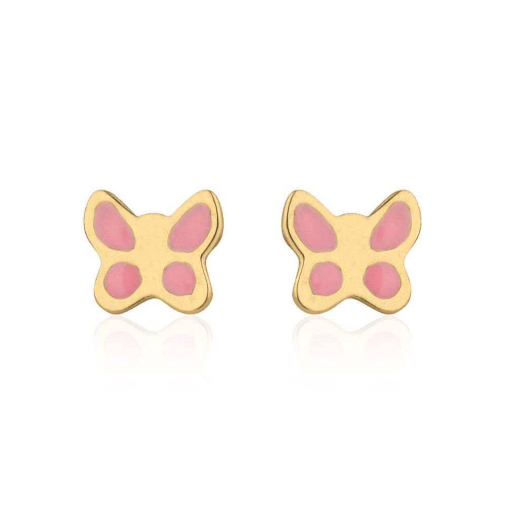 Girl's Jewelry | Stud Earrings in 14K Yellow Gold - Pink Butterfly