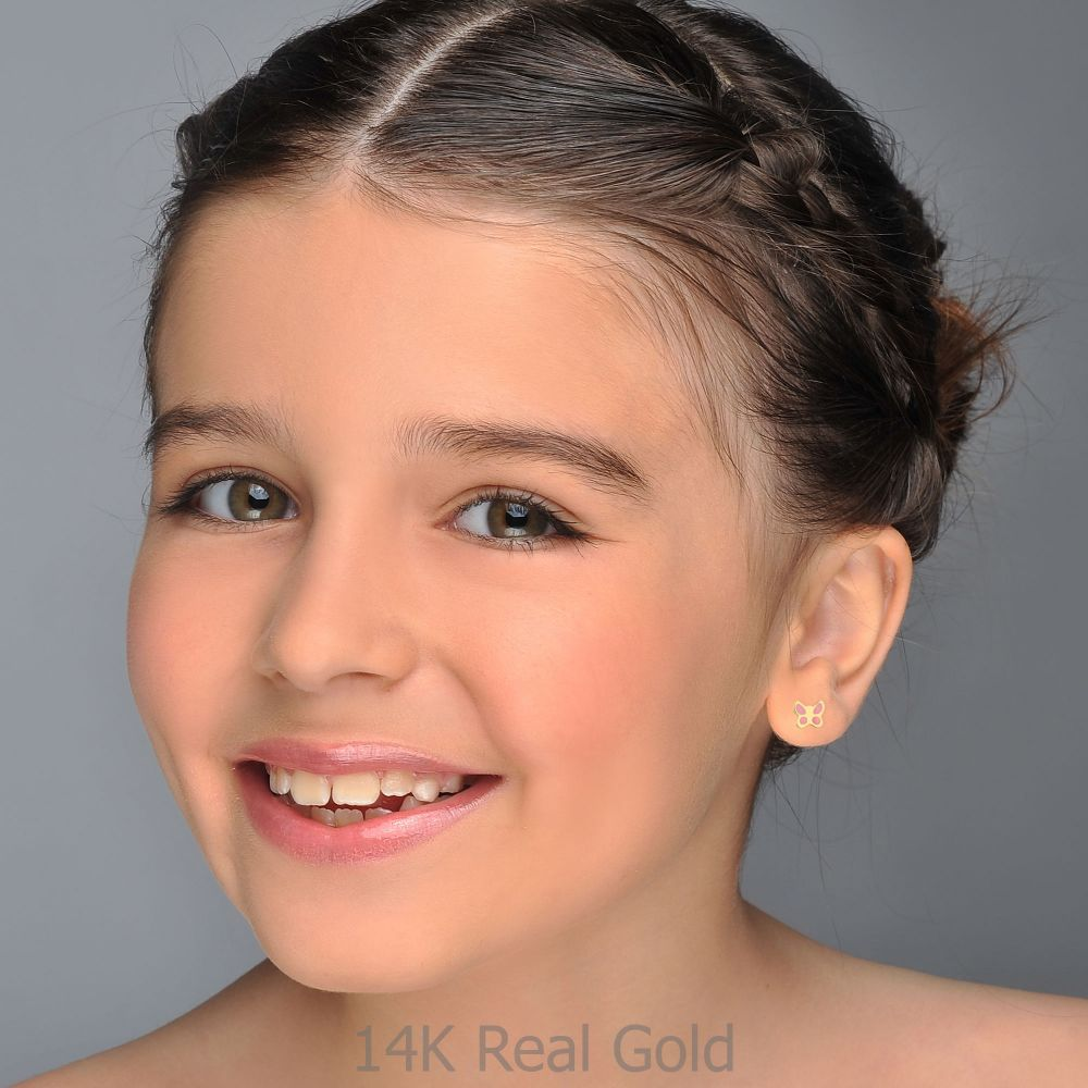 Girl's Jewelry | 14K Yellow Gold Kid's Stud Earrings - Pink Butterfly