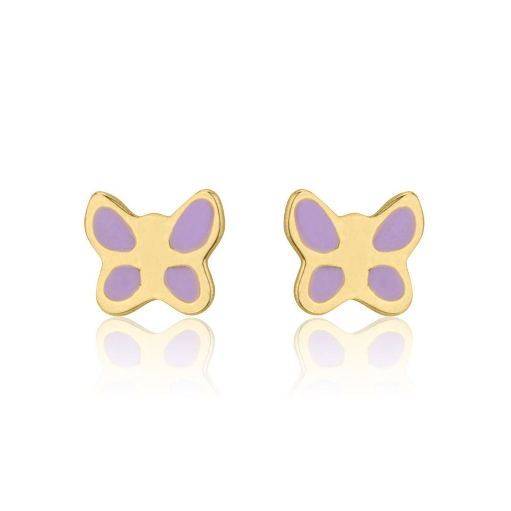 Girl's Jewelry | 14K Yellow Gold Kid's Stud Earrings - Lilac Butterfly