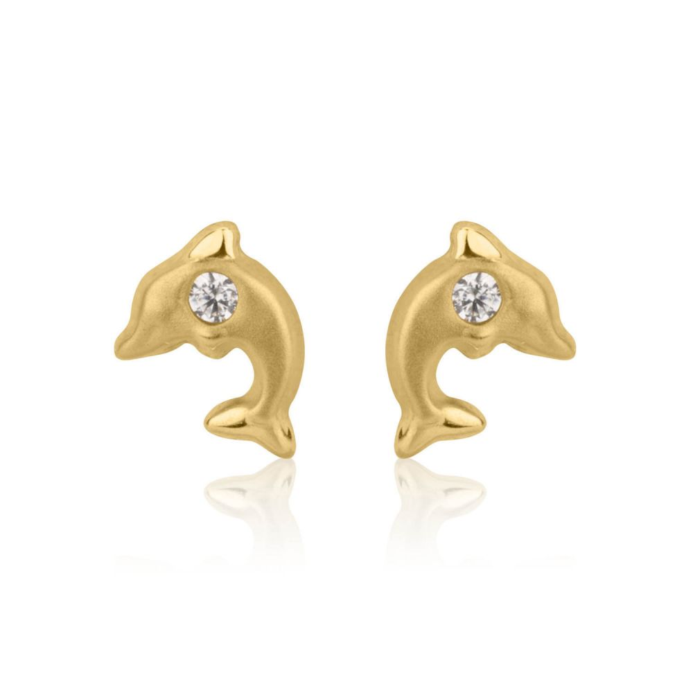 Girl's Jewelry | Stud Earrings in 14K Yellow Gold - Leaping Dolphin