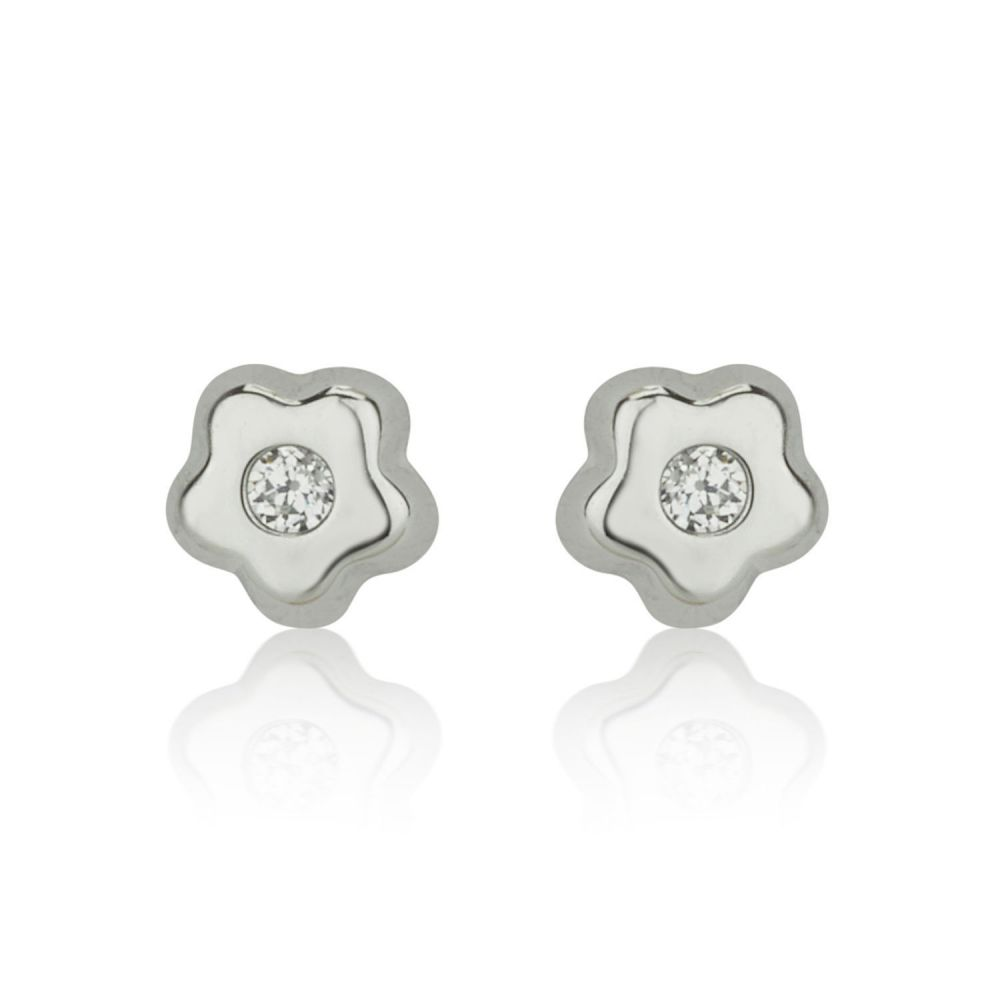Girl's Jewelry | Stud Earrings in 14K White Gold - Tiny Sparkling Flower