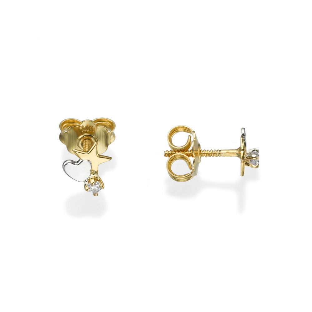 Girl's Jewelry | Stud Earrings in 14K Yellow Gold - Twinkling Star