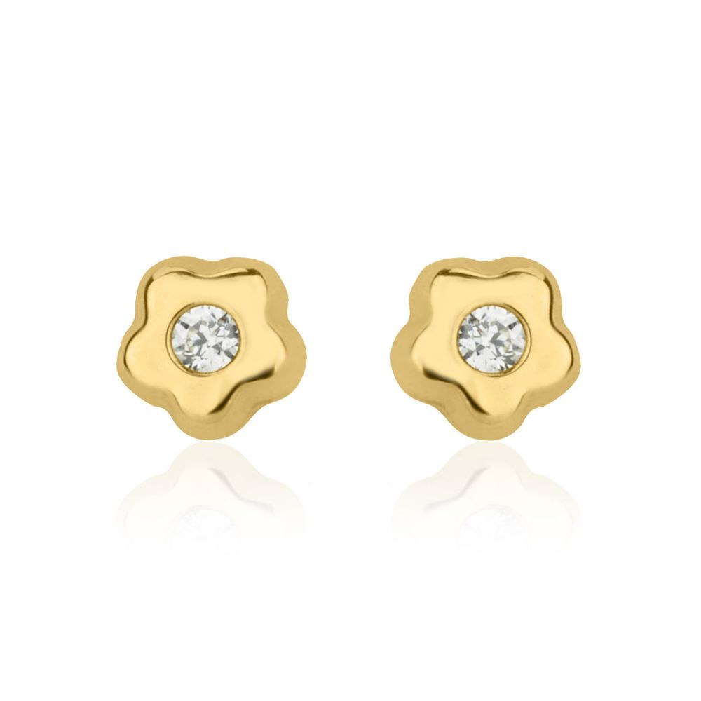 Girl's Jewelry | Stud Earrings in 14K Yellow Gold - Tiny Flowering Star