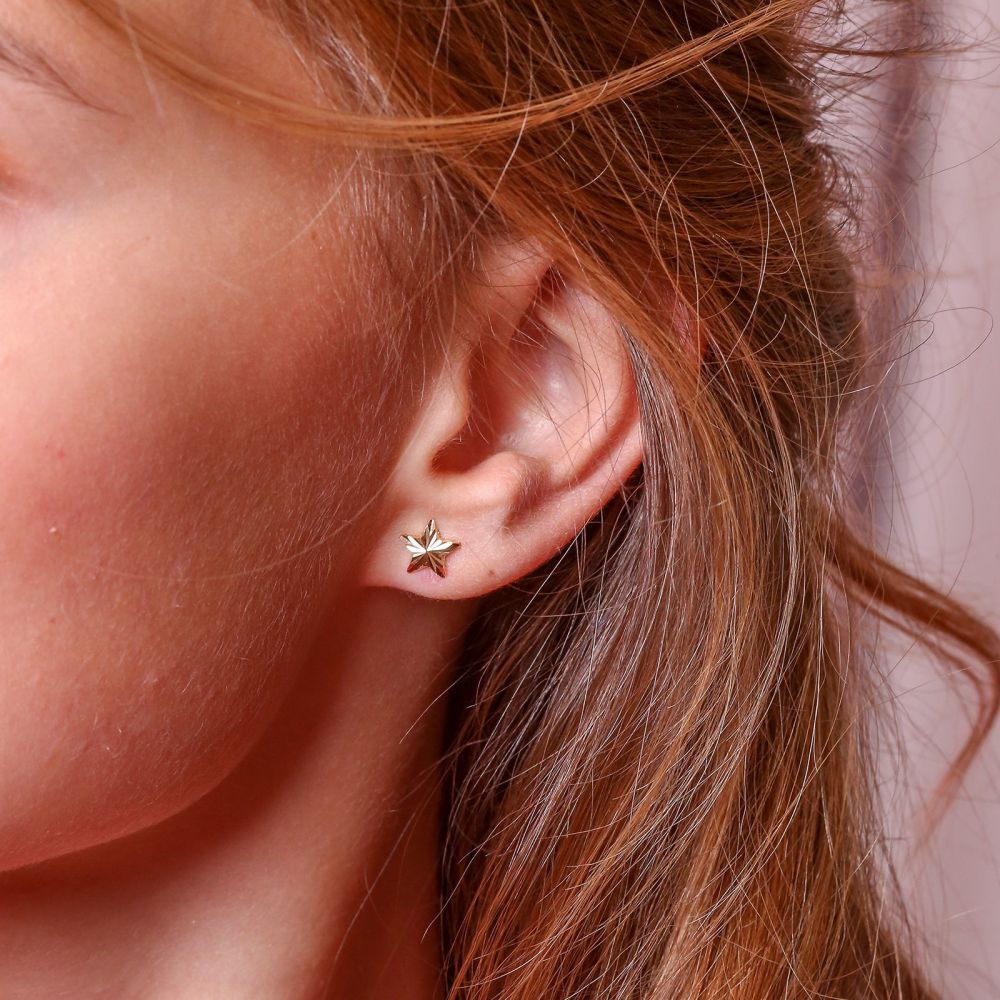 Girl's Jewelry | 14K Yellow Gold Kid's Stud Earrings - North Star