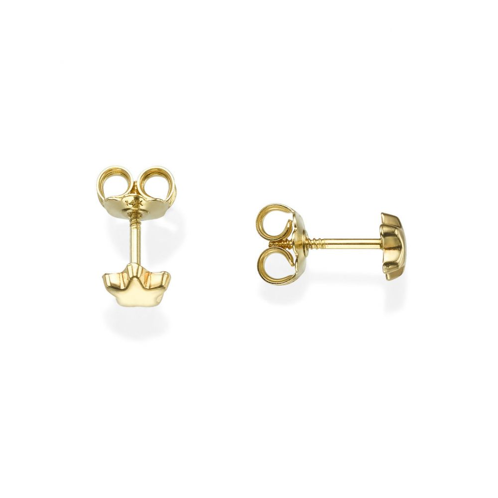 Girl's Jewelry | 14K Yellow Gold Kid's Stud Earrings - Shining Star