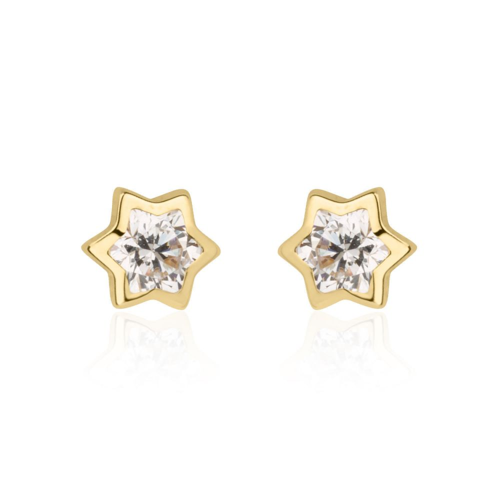 Girl's Jewelry | 14K Yellow Gold Kid's Stud Earrings - Sparkling Star