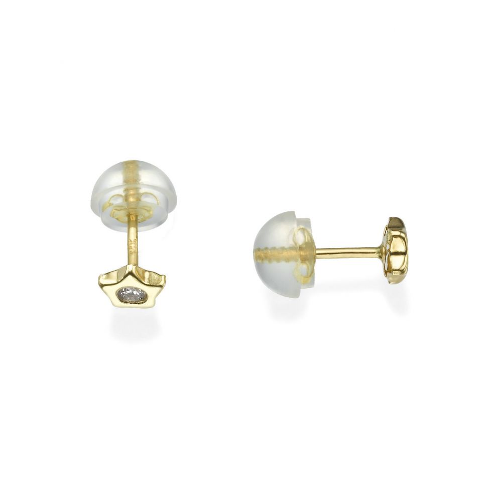 Girl's Jewelry | Stud Earrings in 14K Yellow Gold - Sparkling Star - Delicate