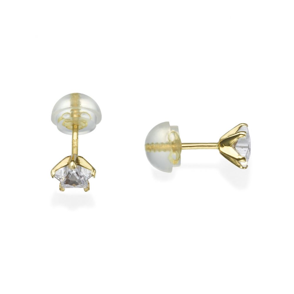 Girl's Jewelry | 14K Yellow Gold Kid's Stud Earrings - Twinkling Star