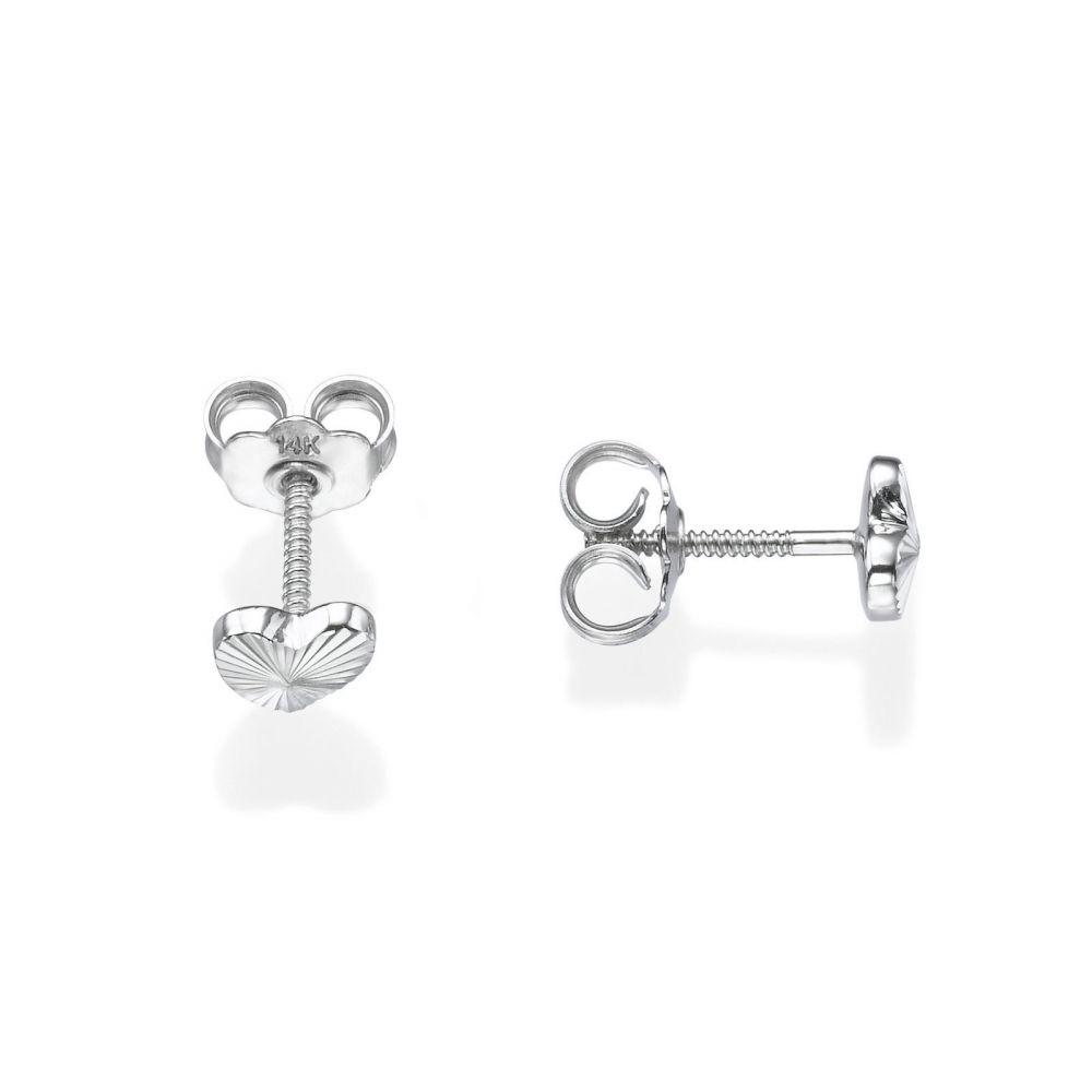 Girl's Jewelry | 14K White Gold Kid's Stud Earrings - Noted Heart