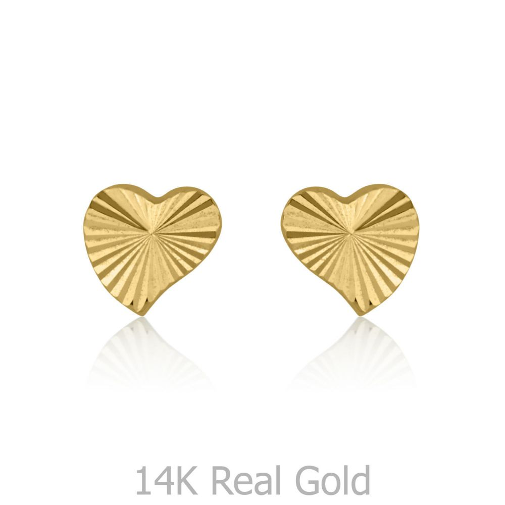 Girl's Jewelry | Stud Earrings in 14K Yellow Gold - Noted Heart