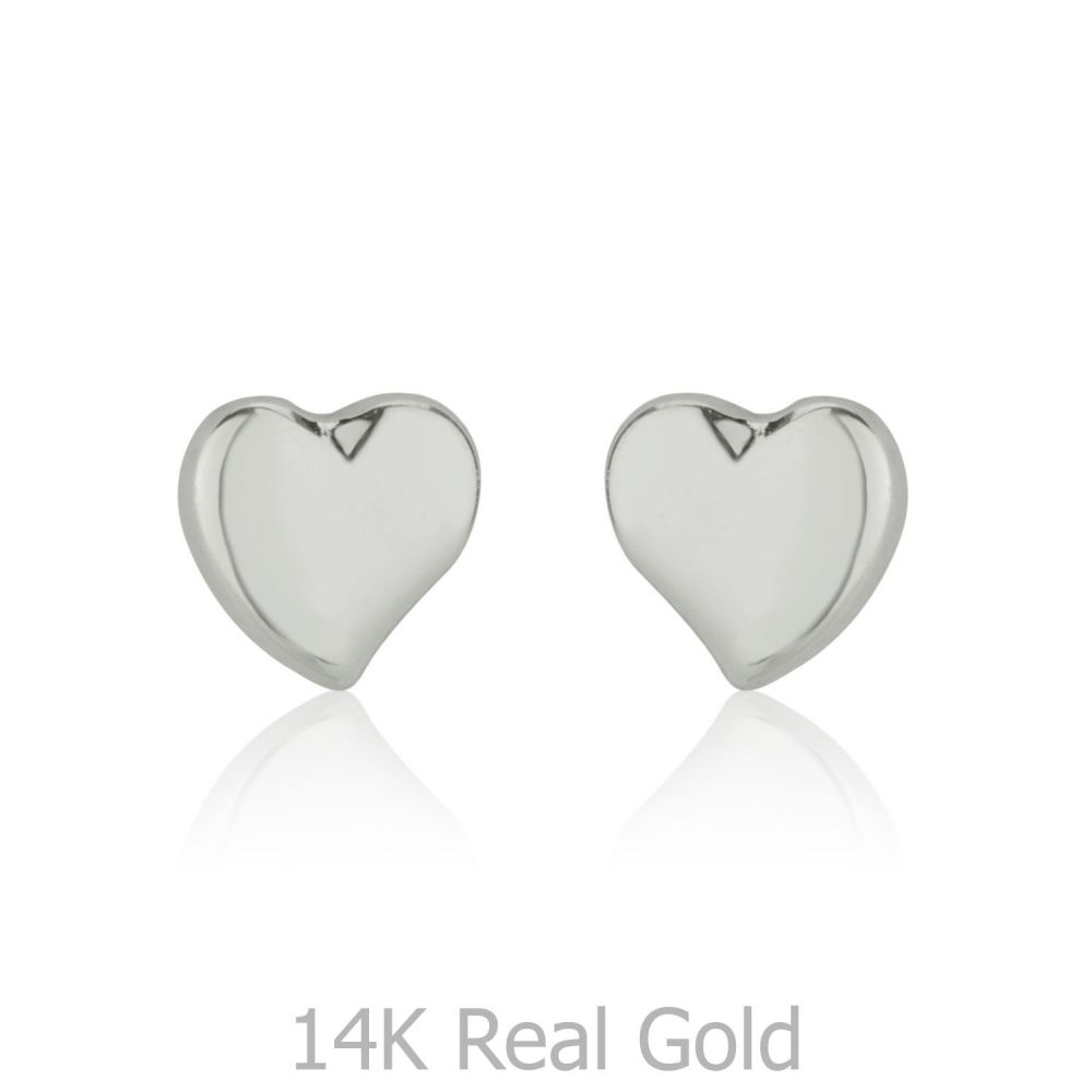 Girl's Jewelry | Gold Stud Earrings -  Classic Heart
