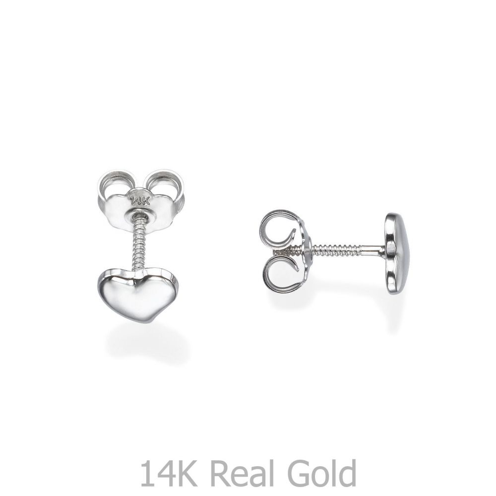 Girl's Jewelry | Stud Earrings in 14K White Gold - Classic Heart