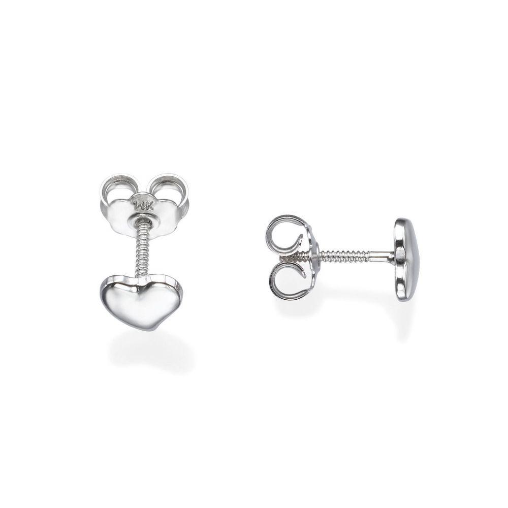 Girl's Jewelry | 14K White Gold Kid's Stud Earrings - Classic Heart