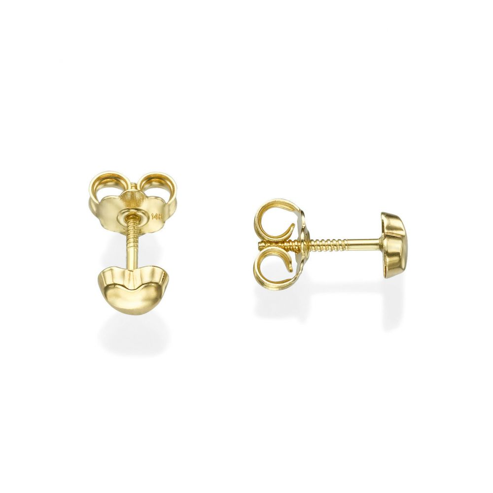 Girl's Jewelry | Stud Earrings in 14K Yellow Gold - Classic Heart - Small