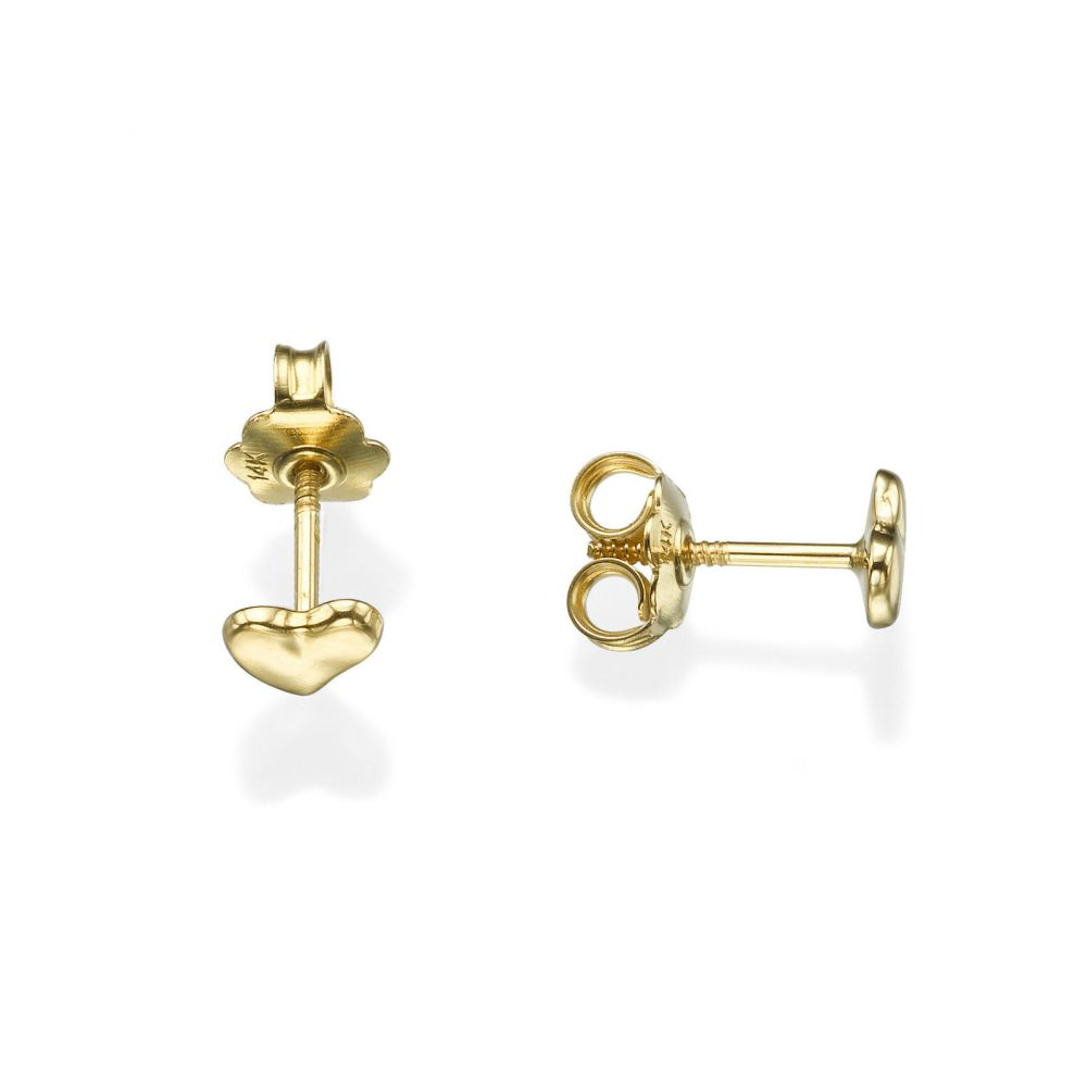 Girl's Jewelry | Stud Earrings in 14K Yellow Gold - Loving Heart