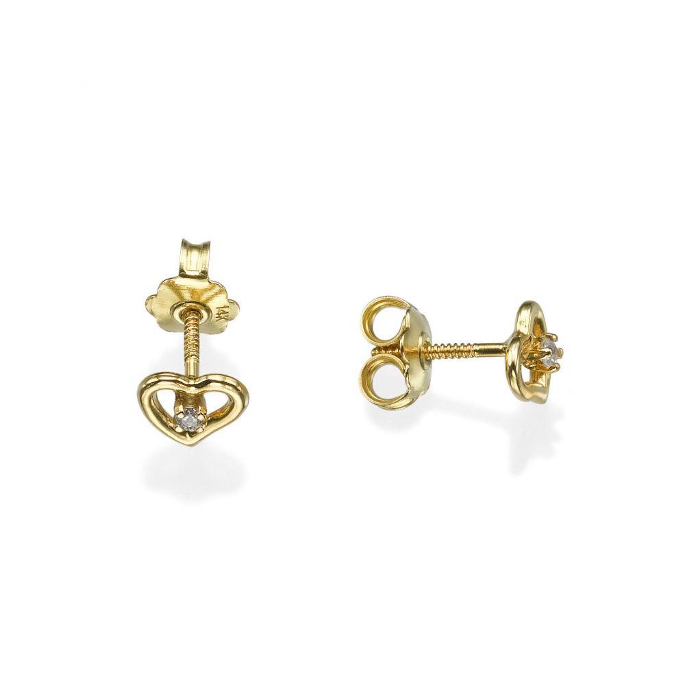 Girl's Jewelry | Stud Earrings in 14K Yellow Gold - Poetic Heart