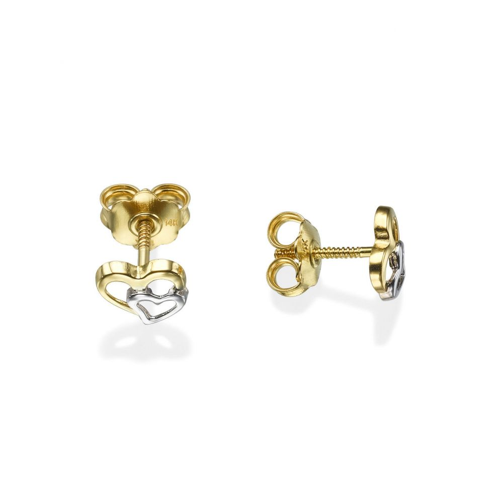 Girl's Jewelry | Stud Earrings in 14K White & Yellow Gold - Joined Hearts